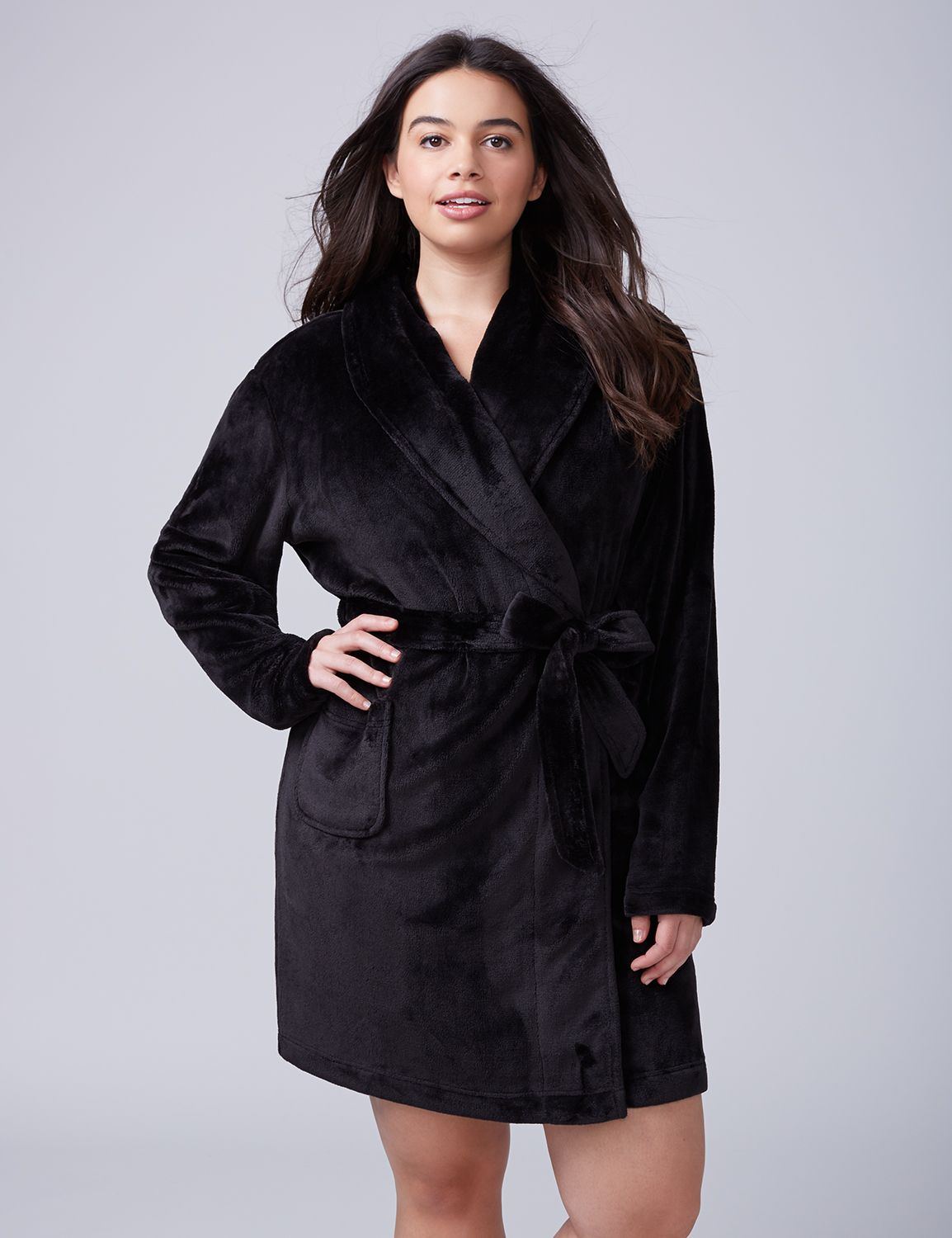 Lane Bryant Womens Plush Robe 14/16 Black