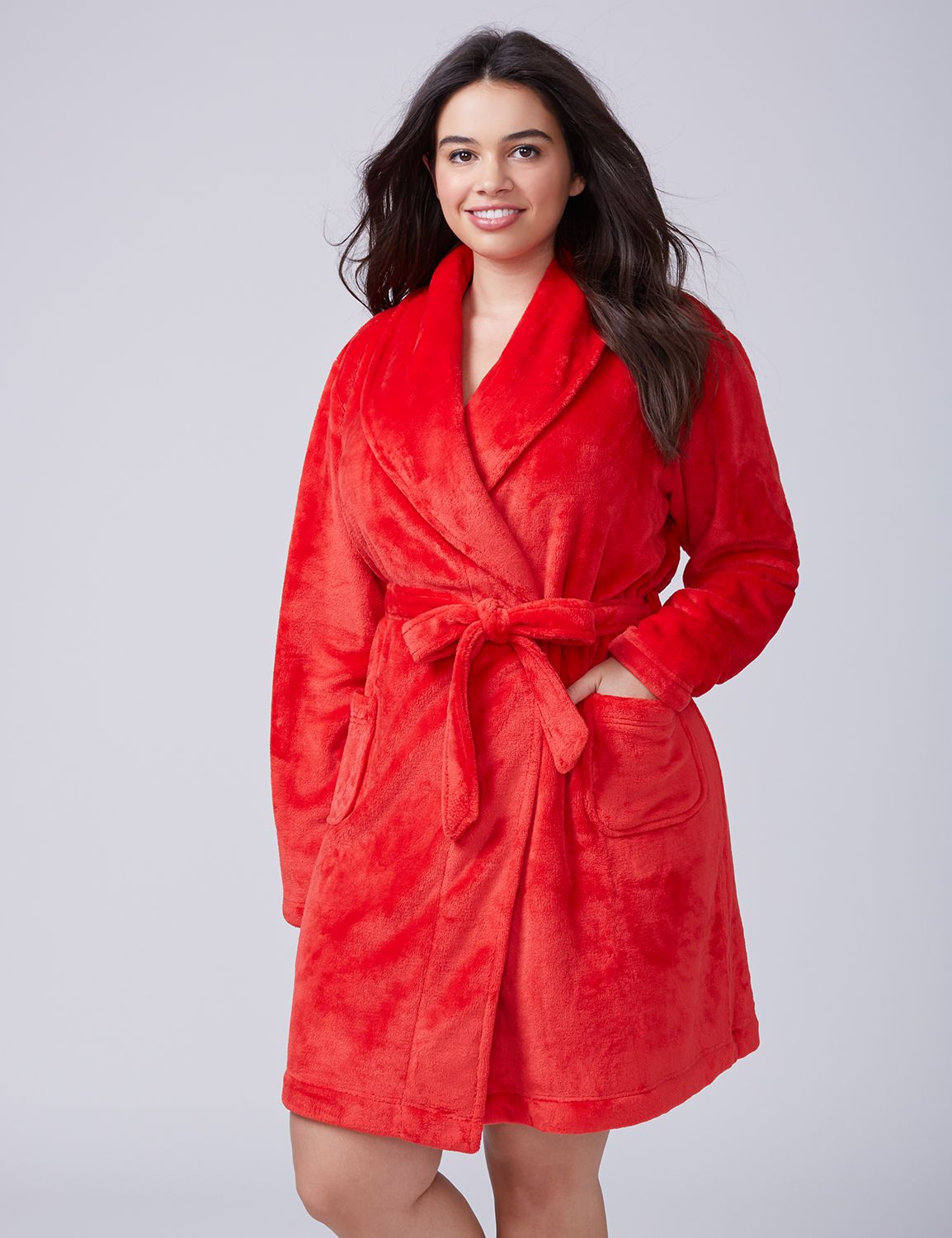 Lane Bryant Womens Plush Robe 18/20 Chinese Red