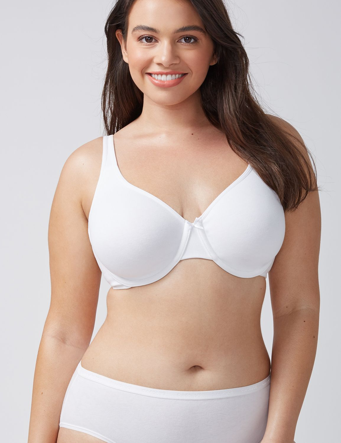 Lane Bryant Womens Cotton Unlined Full Coverage Bra 44C White