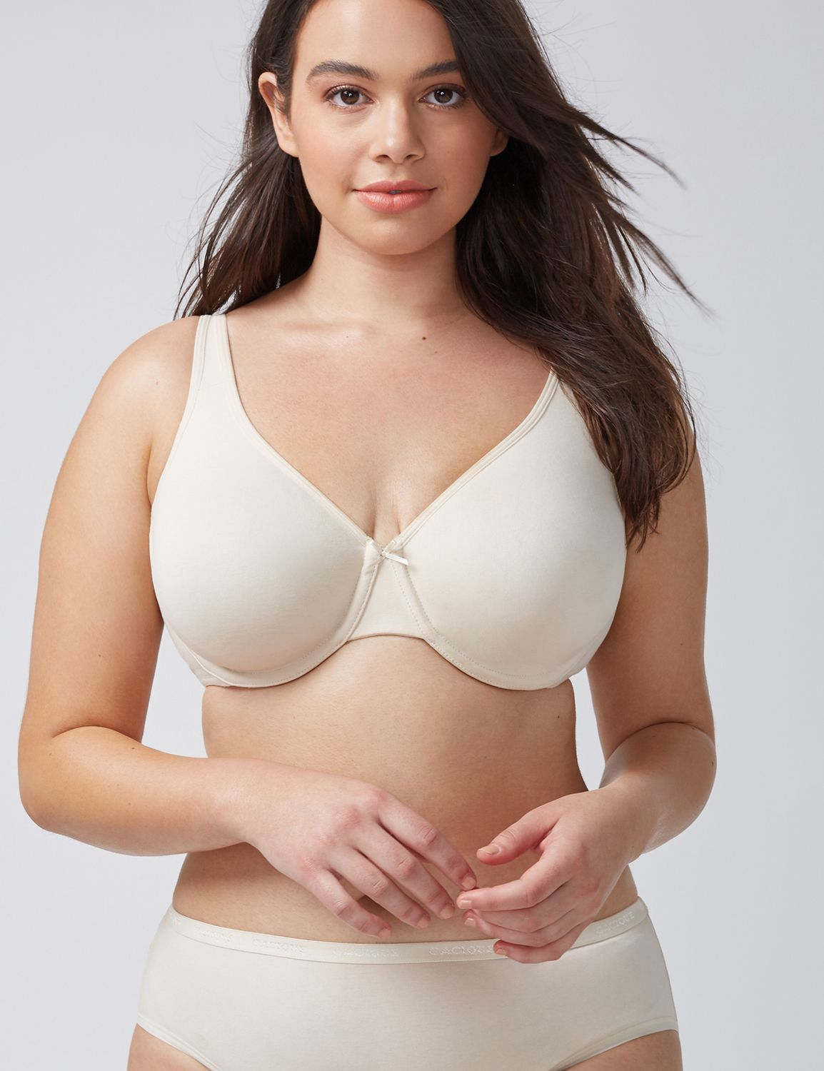 Lane Bryant Womens Cotton Unlined Full Coverage Bra 36D Beige