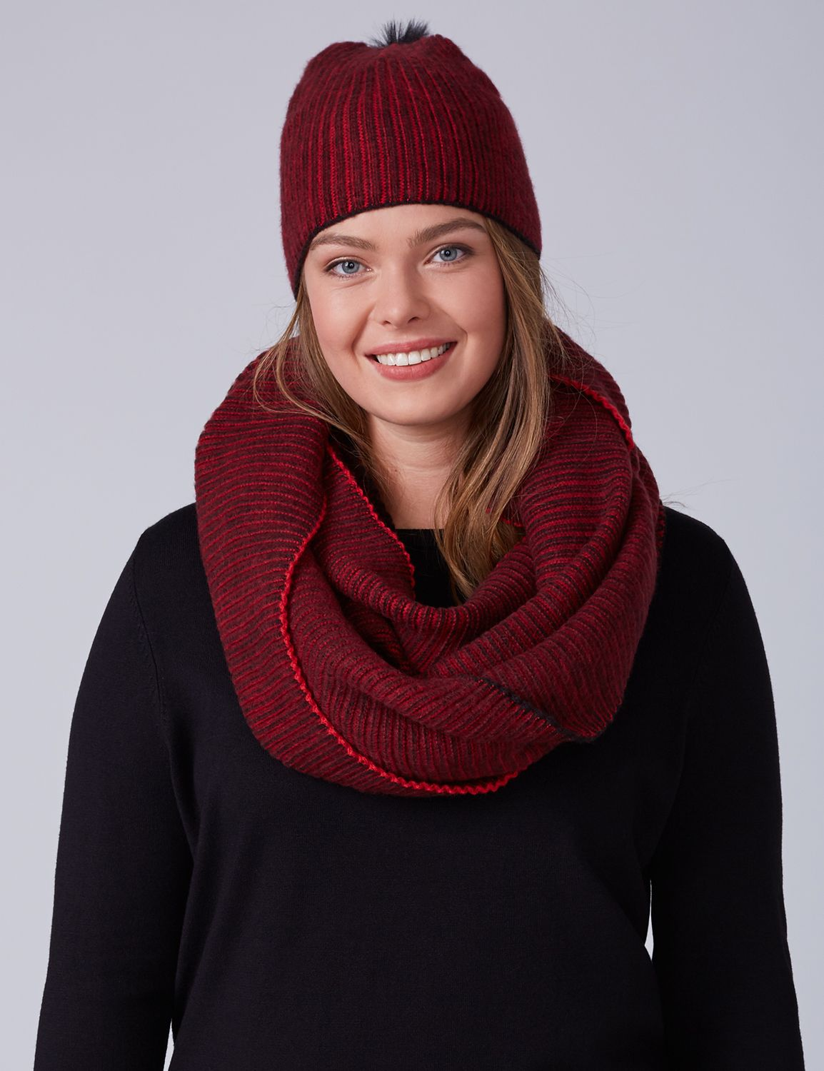 Lane Bryant Women's Ribbed Eternity Scarf ONESZ Venetian Red
