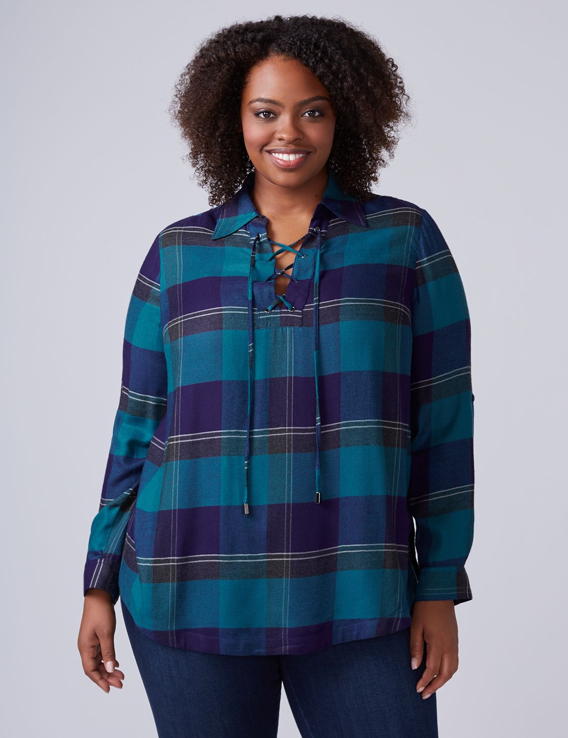 Lane Bryant Womens Plaid Lace-Up Tunic 14/16 Blue Plaid