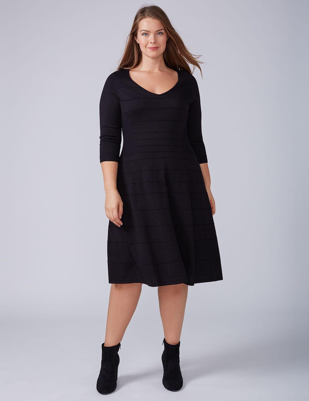 Lane Bryant Womens 3/4-Sleeve Sweater Dress 14/16 Black