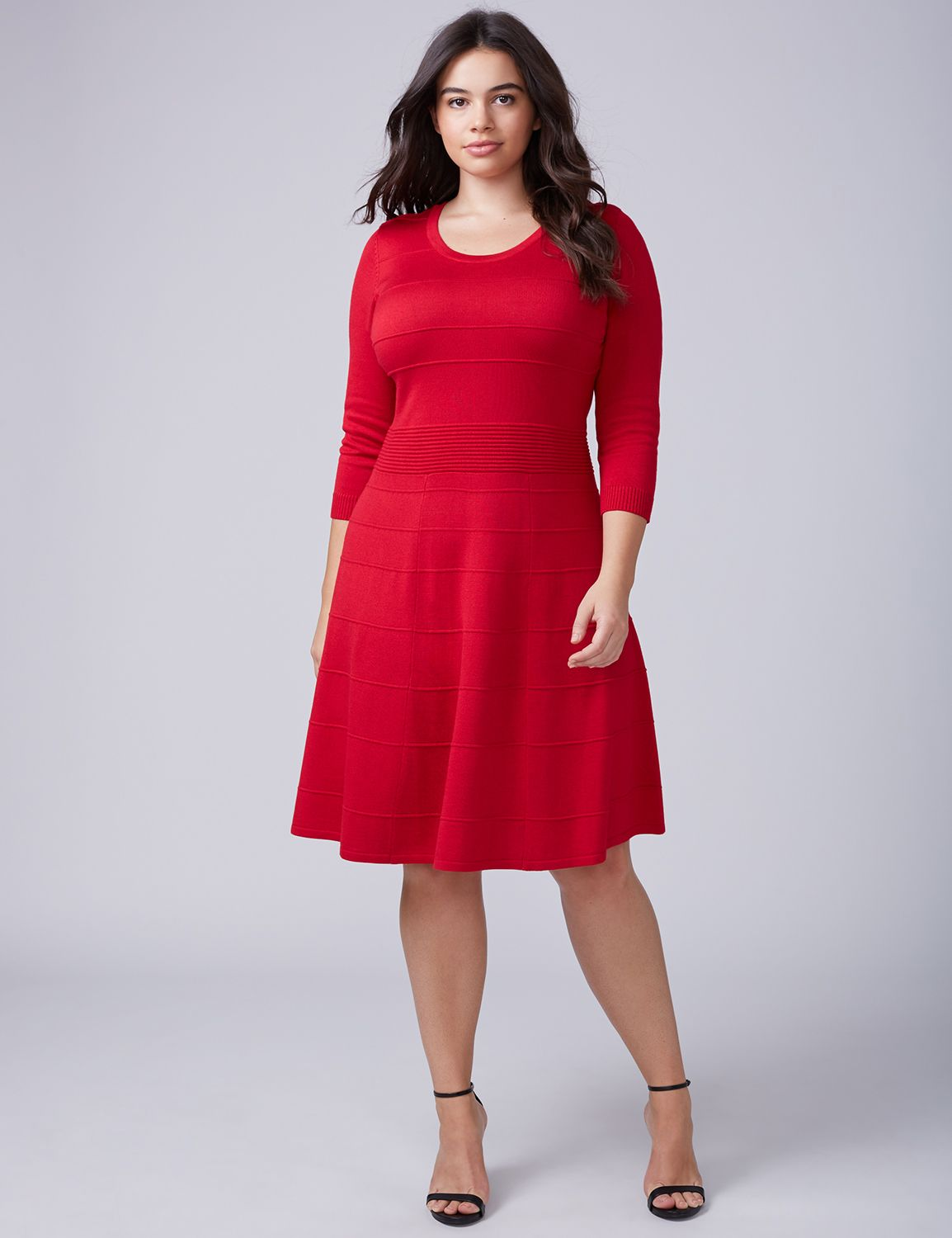 Lane Bryant Women's 3 / 4 - Sleeve Sweater Dress 26 / 28 Venetian Red