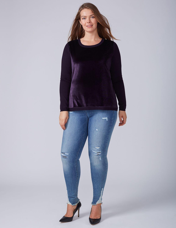 Lane Bryant Womens Velvet-Front Pullover 14/16 Damask Purple