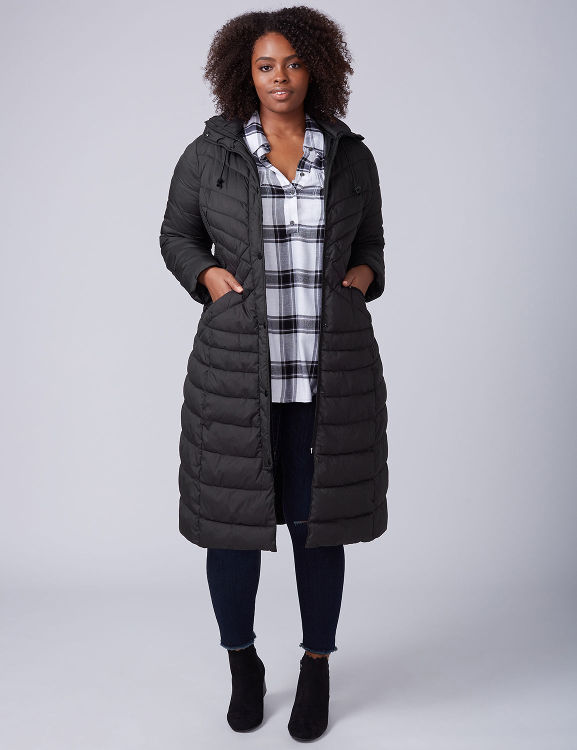 Lane Bryant Women's Maxi Puffer Jacket 26 / 28 Black
