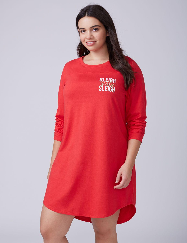 Lane Bryant Womens Slay Sista Slay Long-Sleeve Graphic Sleepshirt 22/24 Sleigh Sista