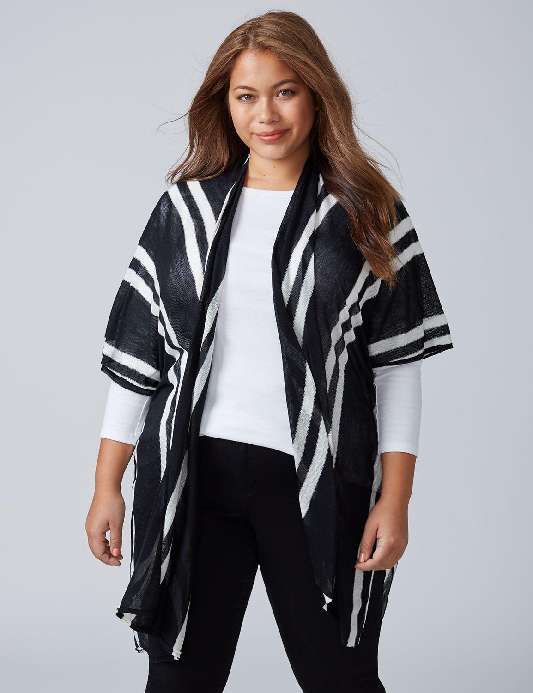 Lane Bryant Womens Striped Kimono ONESZ Black