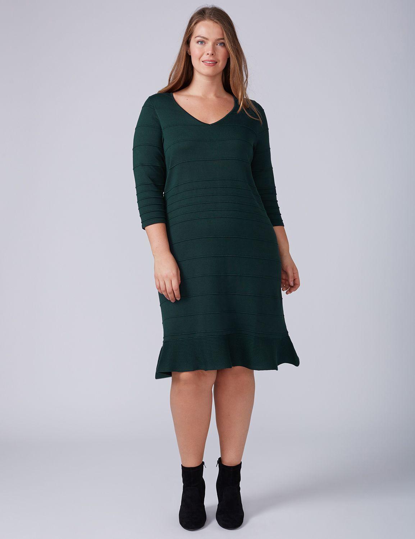 Lane Bryant Womens 3/4 Sleeve Ruffle-Hem Sweater Dress 14/16 Hunter Green