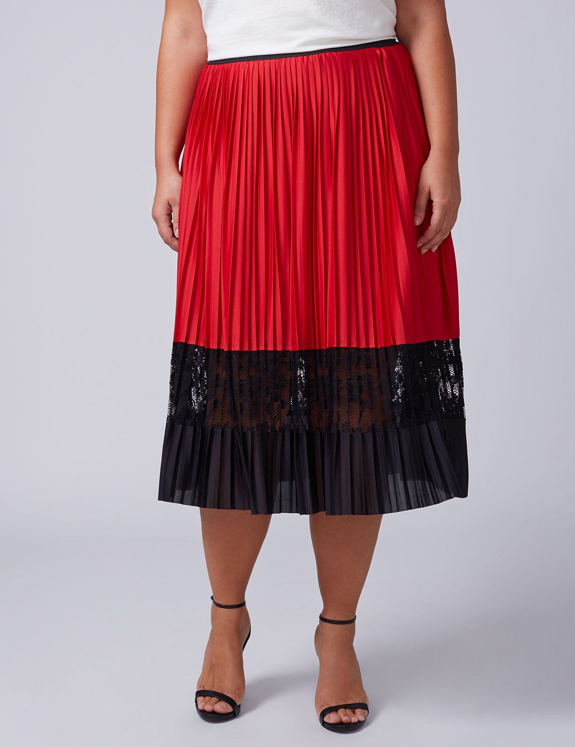 Lane Bryant Womens Pleated Midi Skirt With Lace Inset 18/20 Venetian Red