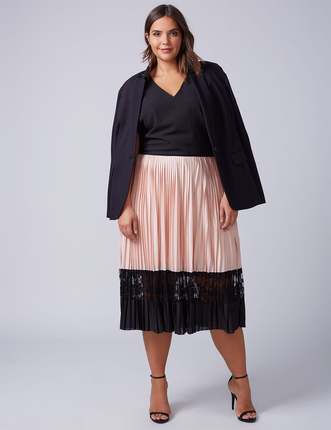 Lane Bryant Womens Pleated Midi Skirt With Lace Inset 26/28 Cameo Rose