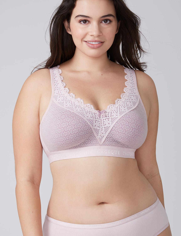 Lane Bryant Womens Cotton Lace Unlined No-Wire Bra 44D Parisian Pink