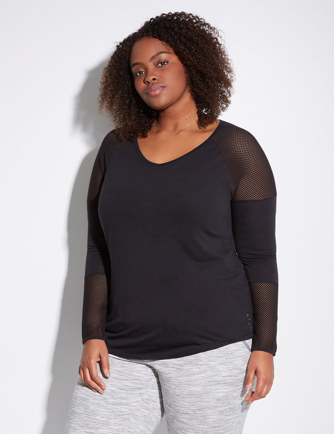 Lane Bryant Womens Active Tee With Mesh 14/16 Black