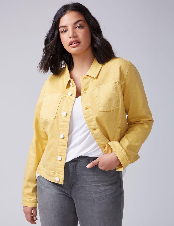Lane Bryant Womens Forward Seam Denim Jacket 18 Misted Yellow