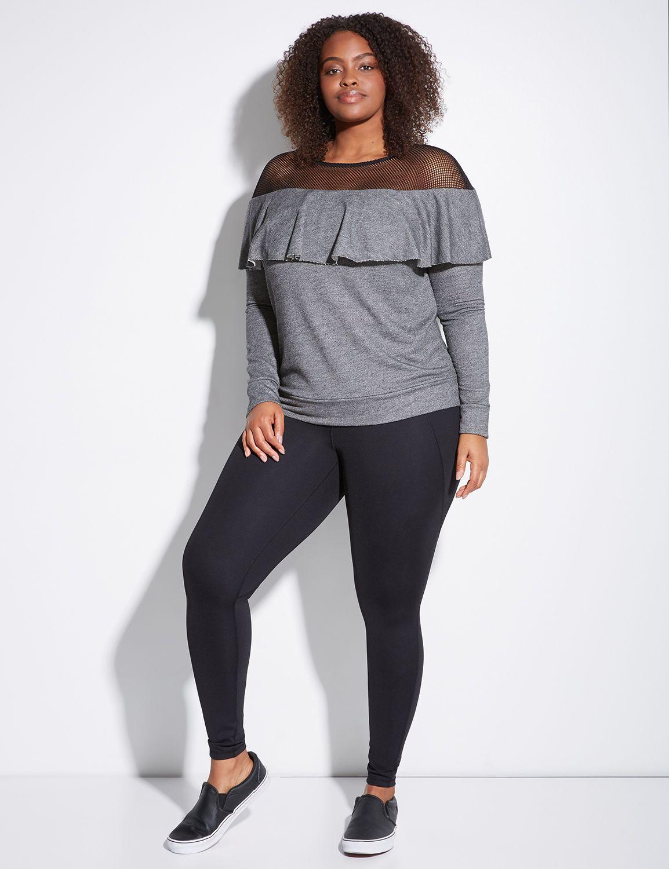 Lane Bryant Womens Active Ruffle Sweatshirt With Mesh Yoke 14/16 Medium Grey Heather