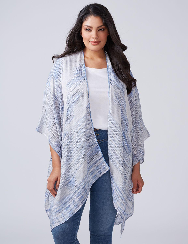 Lane Bryant Womens Woven Kimono ONESZ Medieval Blue