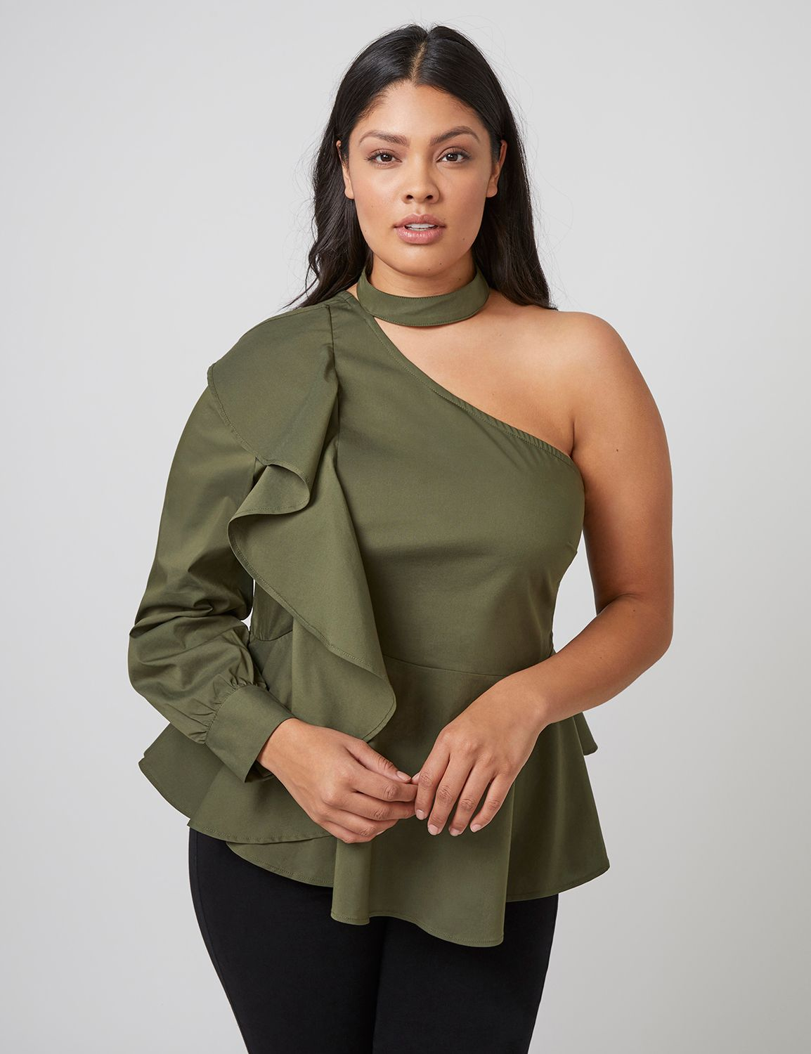Lane Bryant Women's Fast Lane One-Shoulder Choker-Neck Peplum Blouse 28 Utility Green
