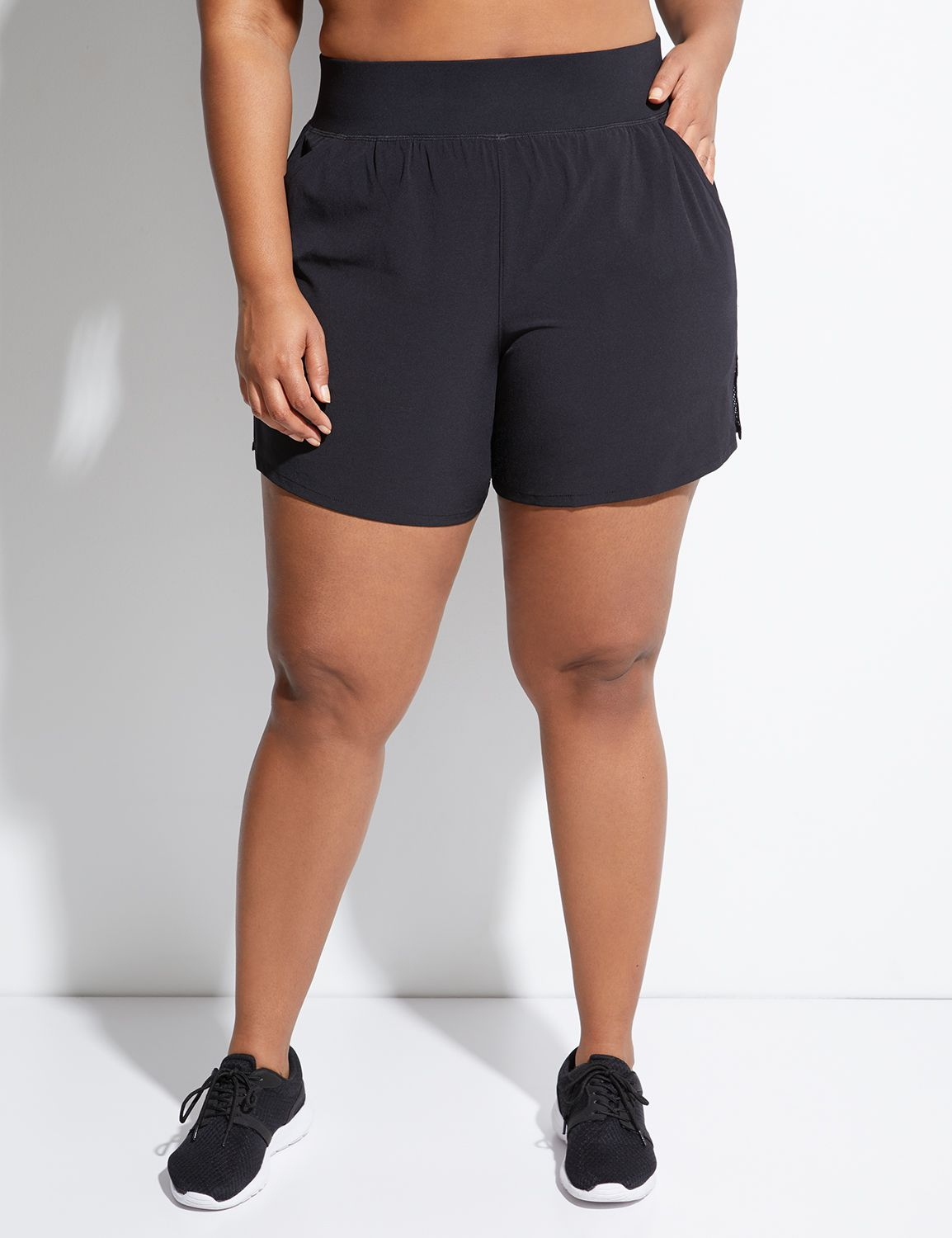 Lane Bryant Womens Cooling Woven Active Short 26/28 Pitch Black