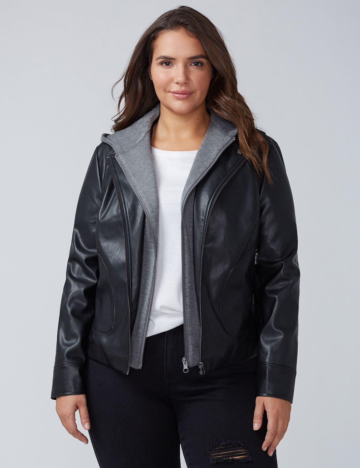 Lane Bryant Womens Faux Leather Moto Jacket With Hood 22/24 Black