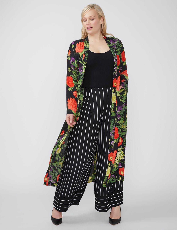 Lane Bryant Womens Fast Lane Printed Long Soft Robe Jacket 14/16 Neutral