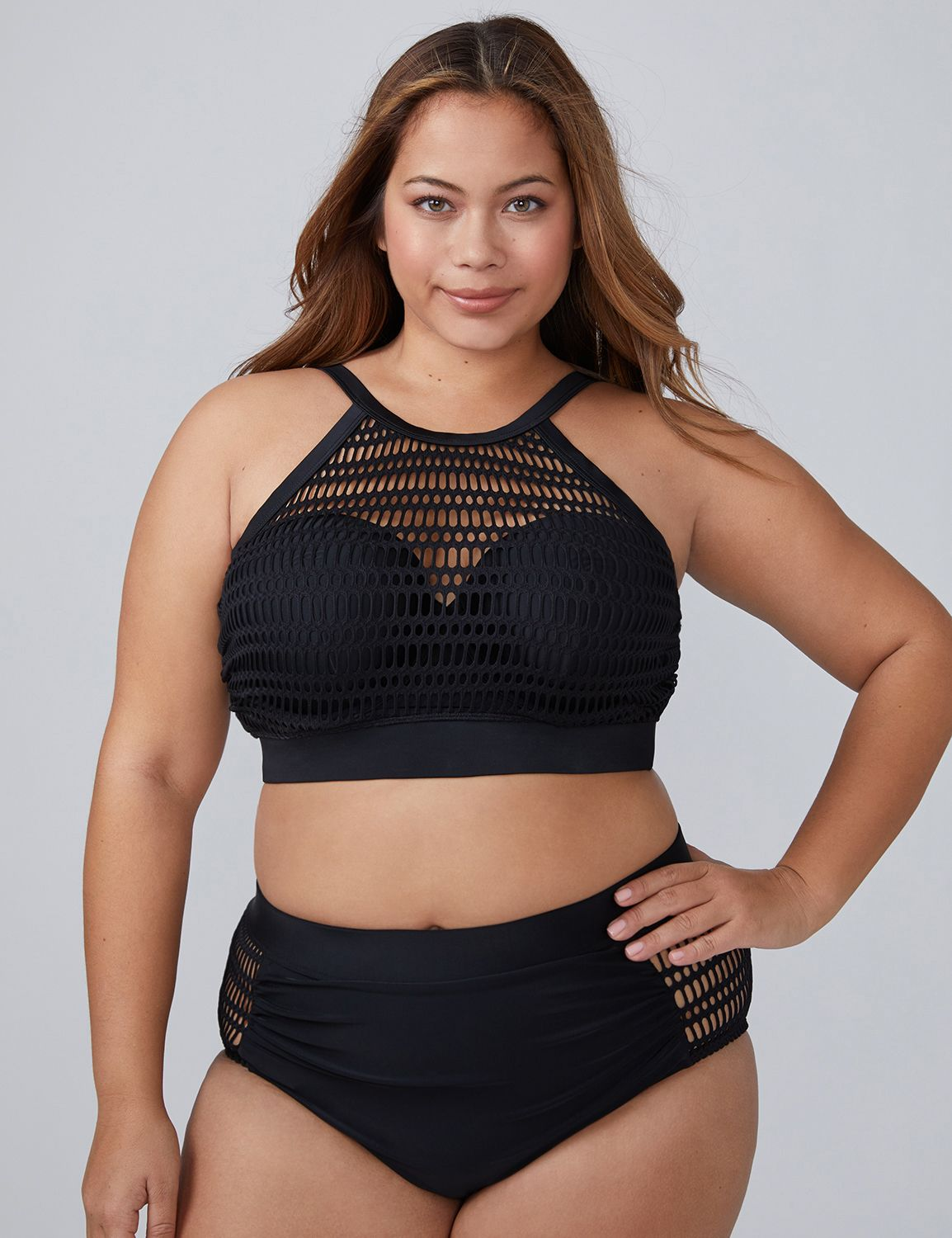 Lane Bryant Womens Crochet Mesh High-Neck Swim Bikini Top With Built-In Bandeau Bra 46D Swim Black