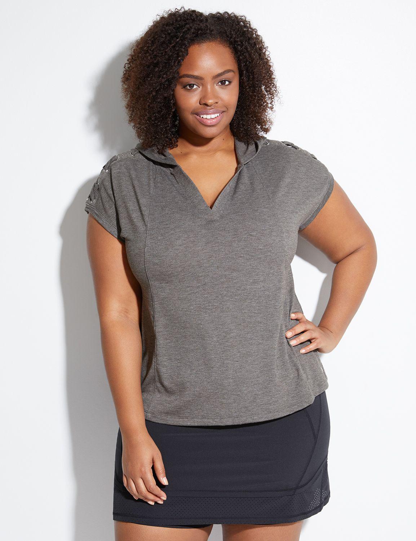 Lane Bryant Womens Spa Lace-Up Sleeve Active Hoodie 14/16 Deep Camo