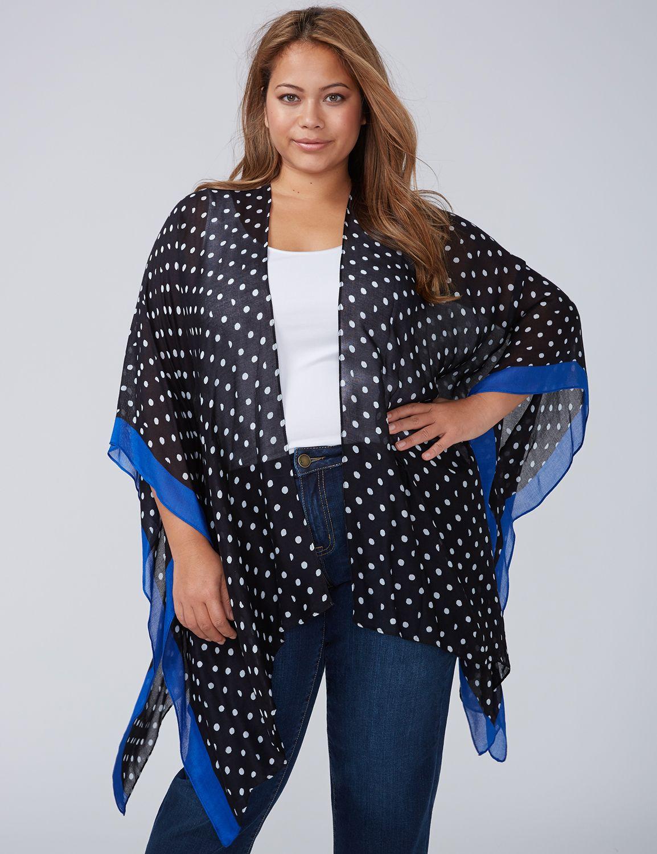 Lane Bryant Womens Polka Dot Kimono ONESZ Dots