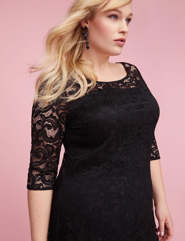 Lane Bryant Womens 3/4 Sleeve Lace Swing Dress 14/16 Pitch Black