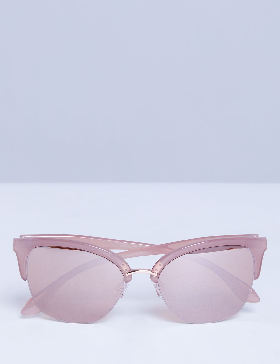 Lane Bryant Womens Half Frame Cateye Sunglasses ONESZ Rose Gold