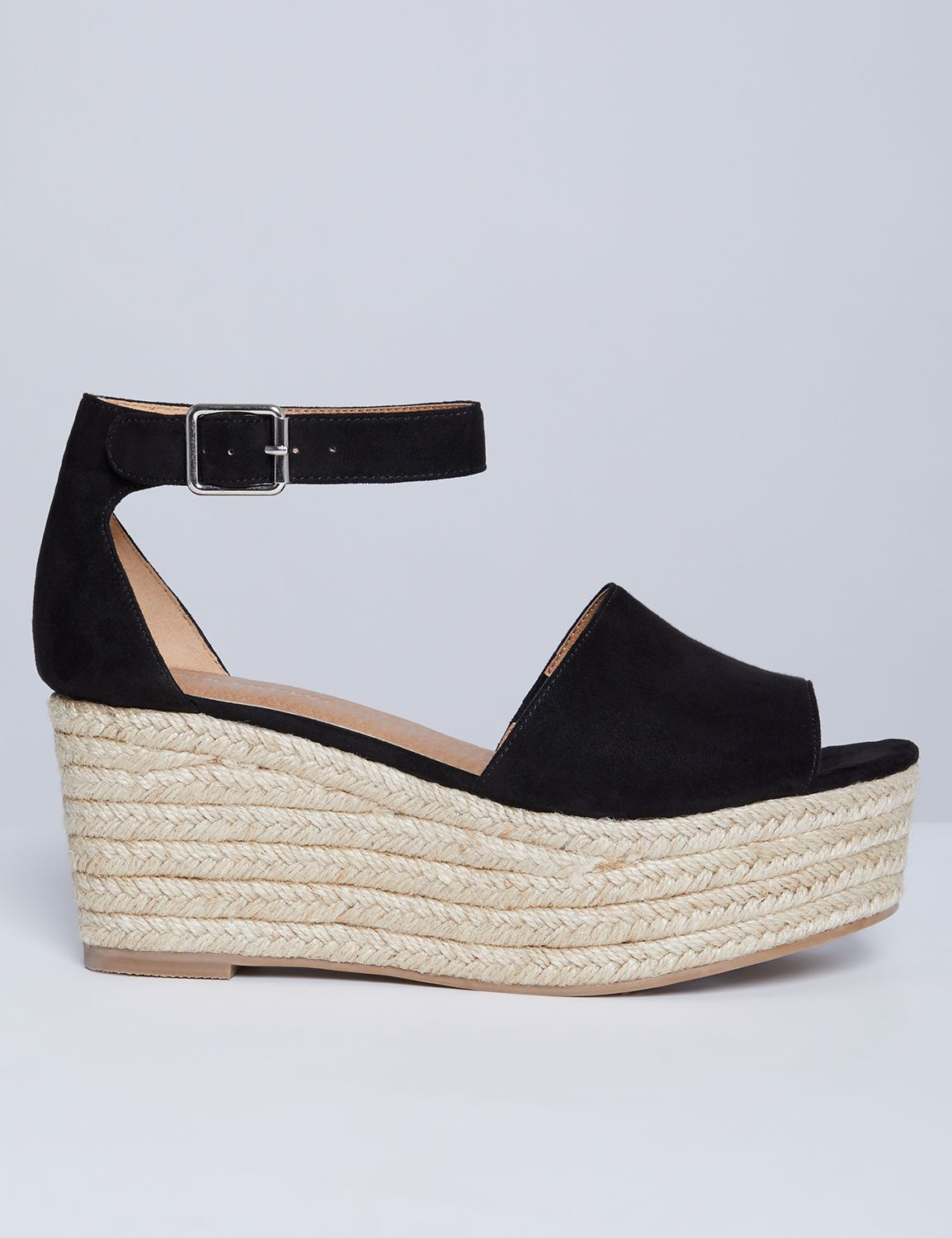 Lane Bryant Womens Espadrille Wedge 8W Pitch Black