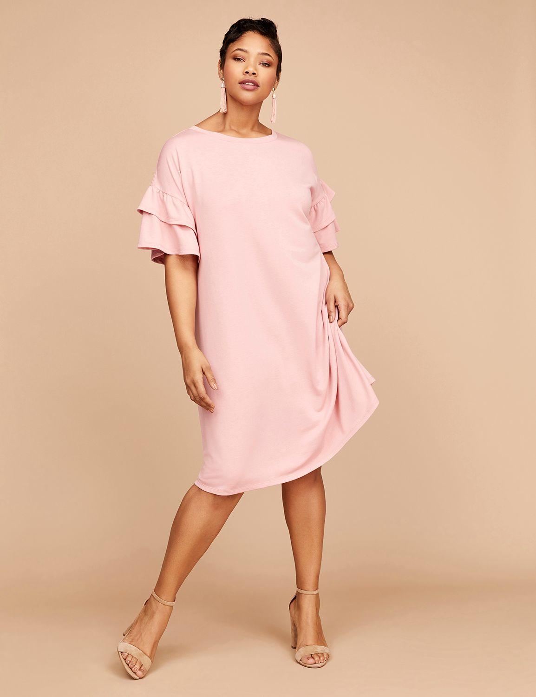 plus size lane bryant,,-Lane Bryant Women's Flutter-Sleeve Sweatshirt Dress 22/24 Blush