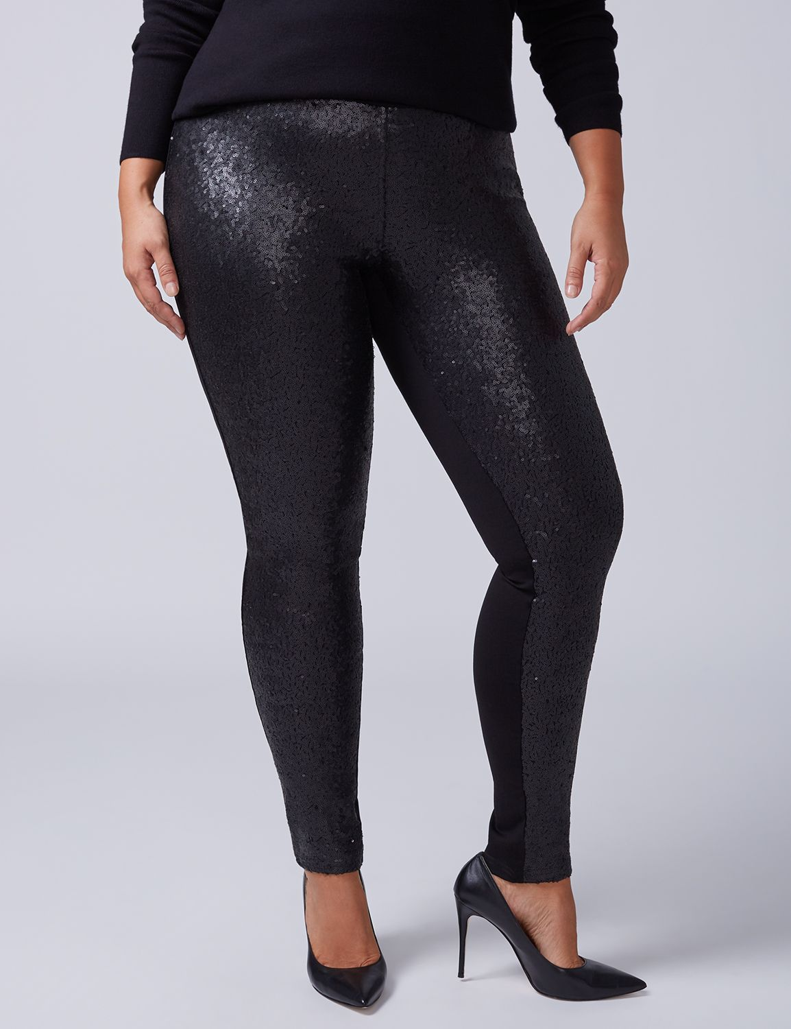 Lane Bryant Womens Sequin Legging 22/24 Black