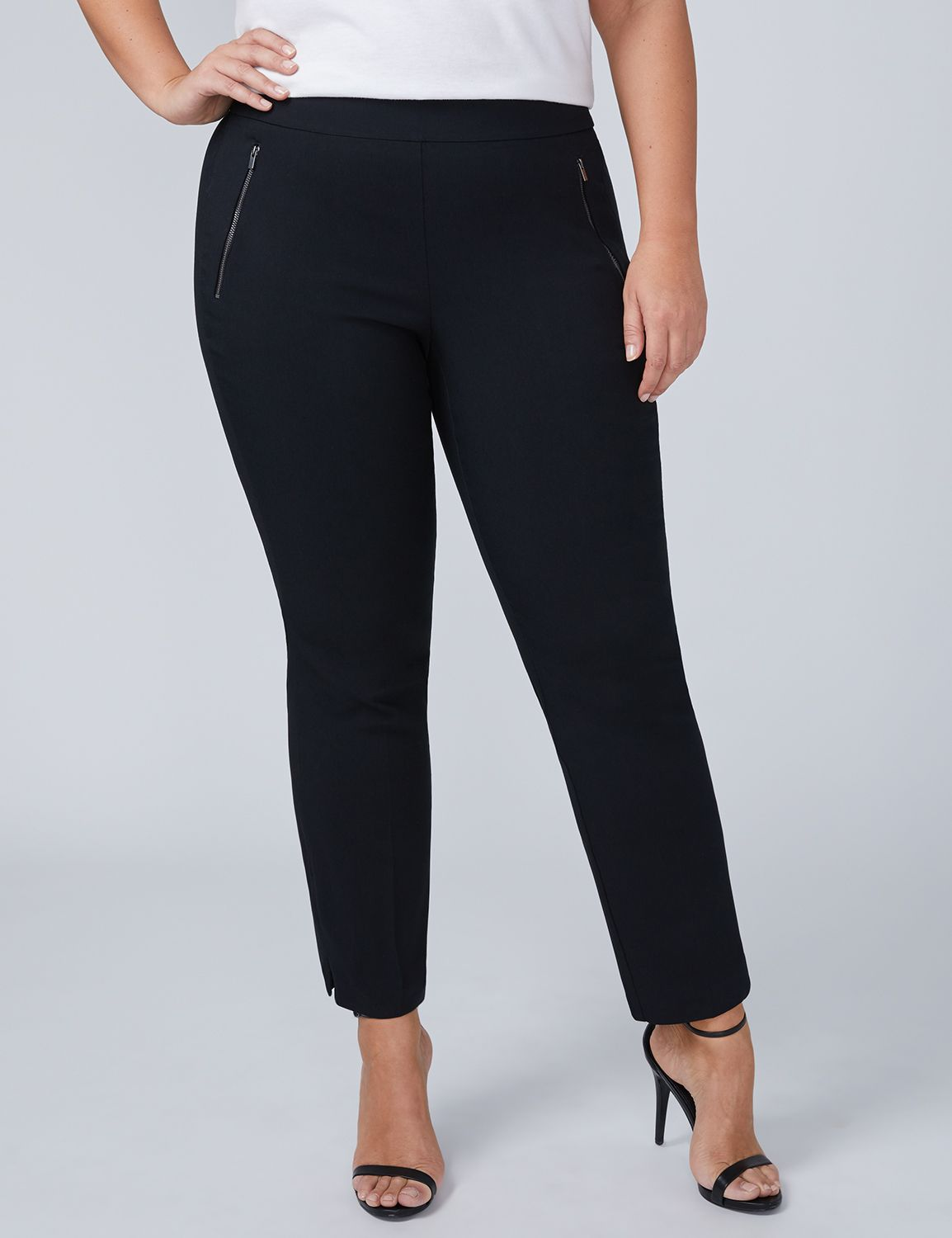 Lane Bryant Womens Allie Sexy Stretch Ankle Pant - Pull On 12 Black