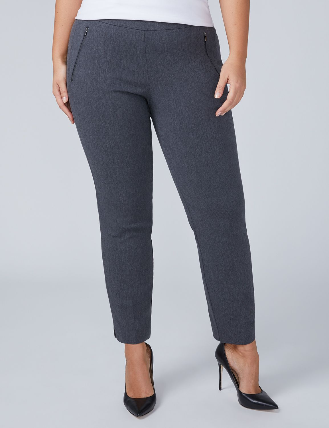 Lane Bryant Womens Allie Sexy Stretch Ankle Pant - Pull On 12 Gray