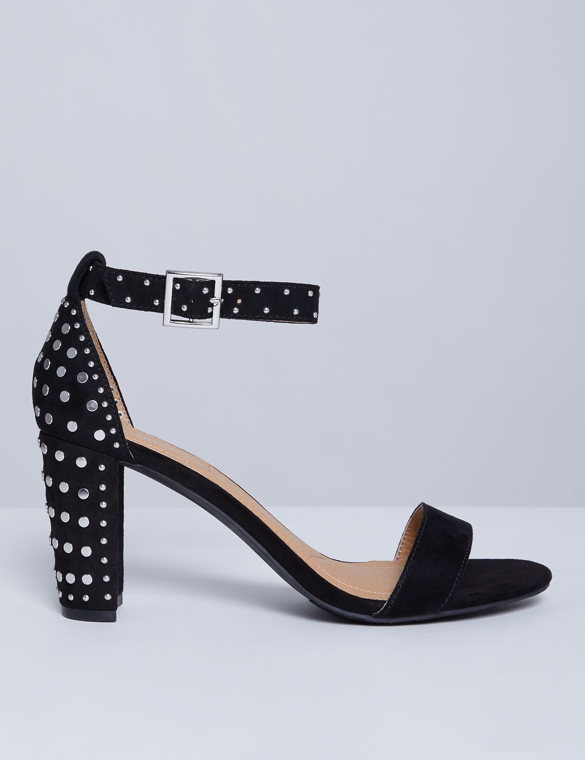 Lane Bryant Womens Studded Tall Ankle-Strap Heel 7W Pitch Black