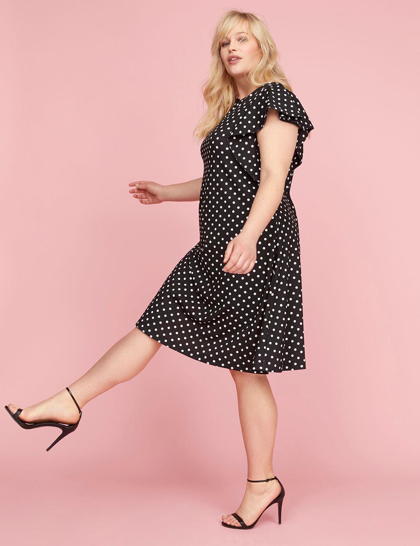 Lane Bryant Womens Ruffle-Sleeve Polka Dot Fit & Flare Dress 26/28 Pitch Black