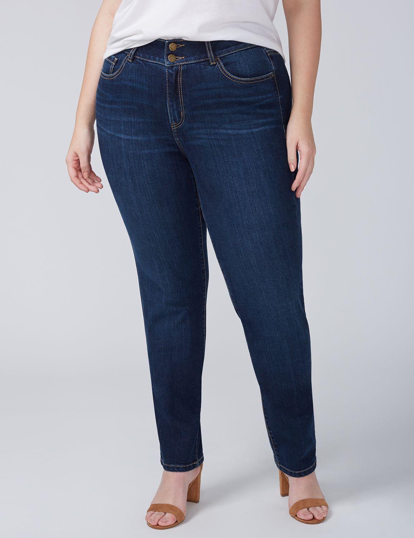 Lane Bryant Womens Straight Jean With T3 Tighter Tummy Technology - Dark Wash 14 Dark Wash