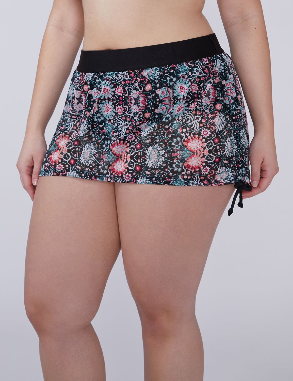 Lane Bryant Womens Sheer Mesh Drawstring Swim Skirt 22 Miniture Tapestry