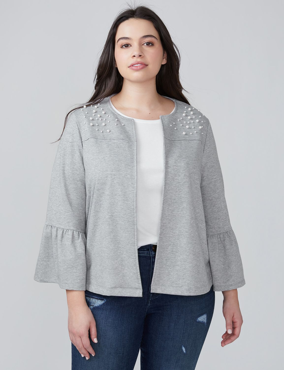 Lane Bryant Womens Bell-Sleeve Sweatshirt Jacket With Faux Pearls 14/16 Heather Gray