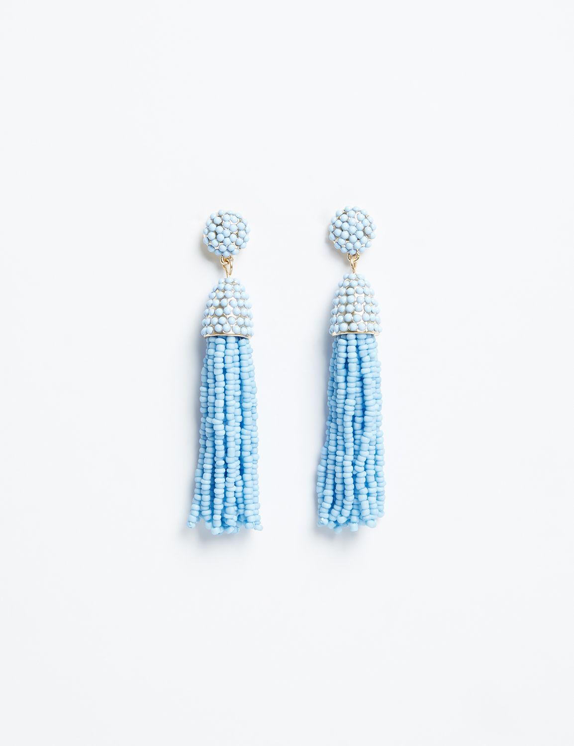 Lane Bryant Womens Beaded Fringe Drop Earrings ONESZ Ashley Blue
