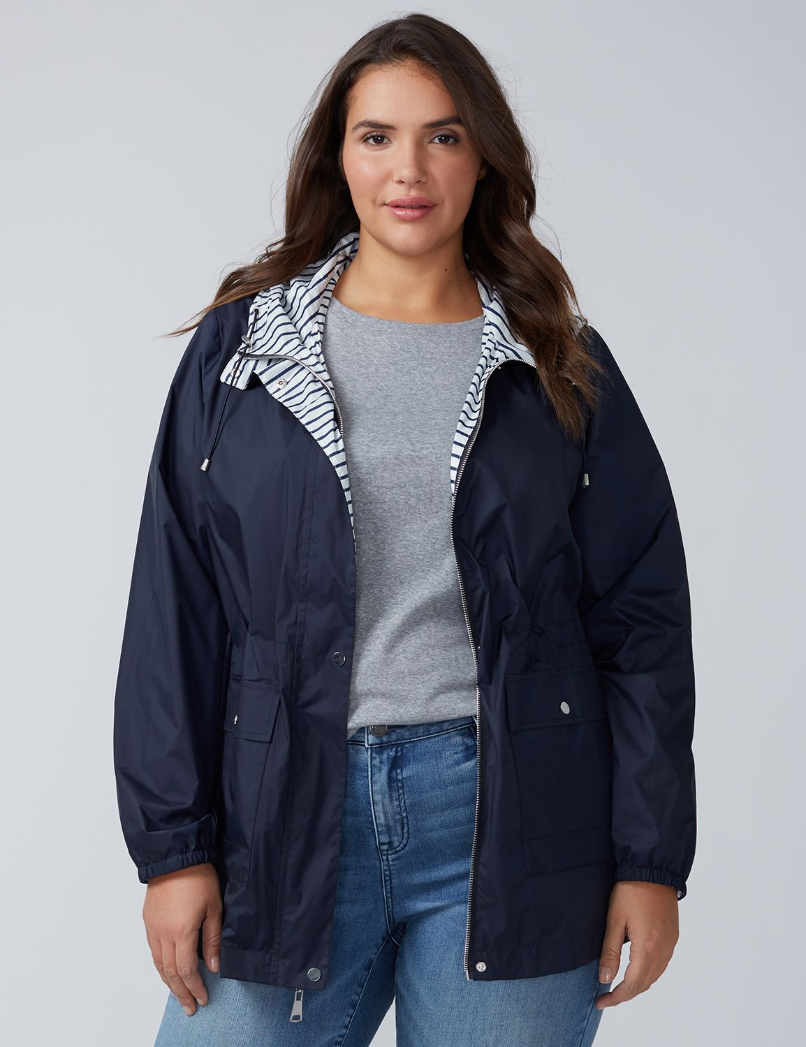 Lane Bryant Womens Striped Anorak Jacket - Reversible 14/16 Navy And White