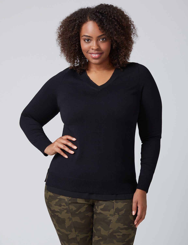 Lane Bryant Womens Chiffon-Trim V-Neck Sweater 22/24 Black