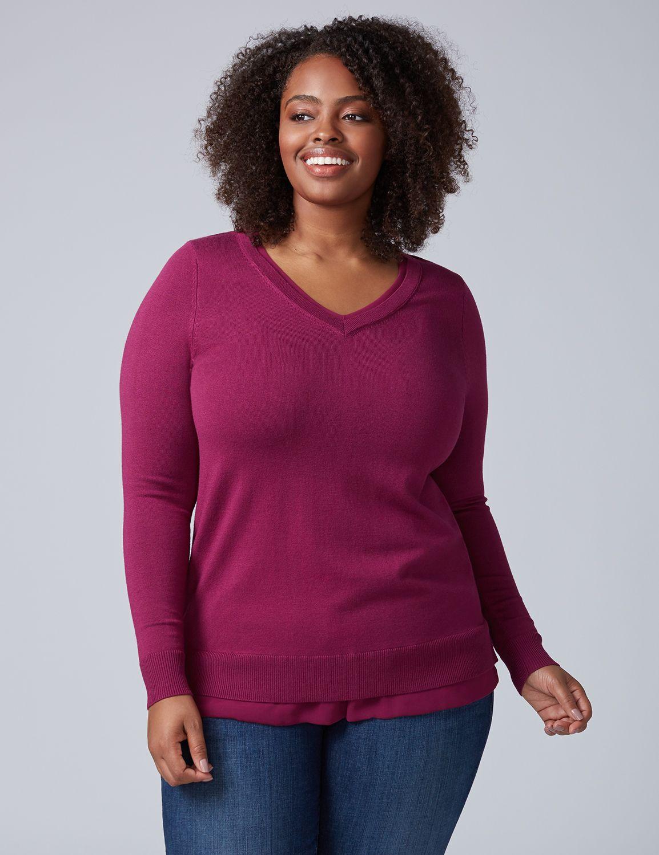 Lane Bryant Womens Chiffon-Trim V-Neck Sweater 14/16 Purple Potion