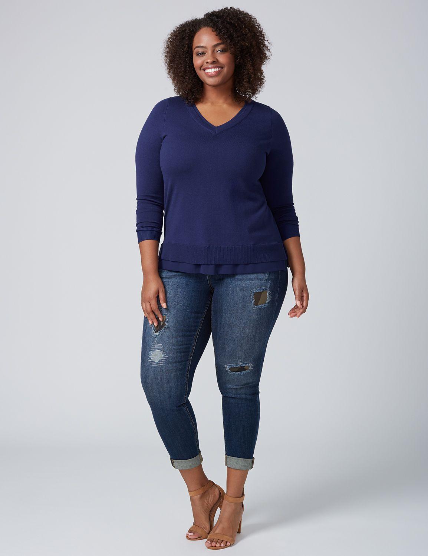 Lane Bryant Womens Chiffon-Trim V-Neck Sweater 14/16 Medieval Blue