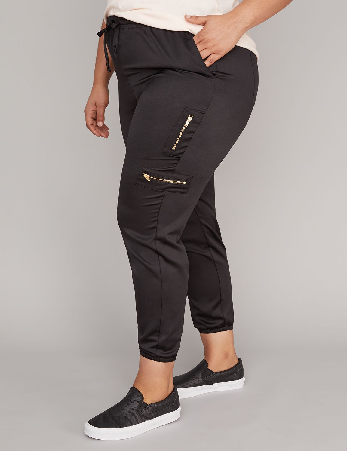 Lane Bryant Womens Zipper Detail Satin Active Cargo Pants 26/28 Pitch Black