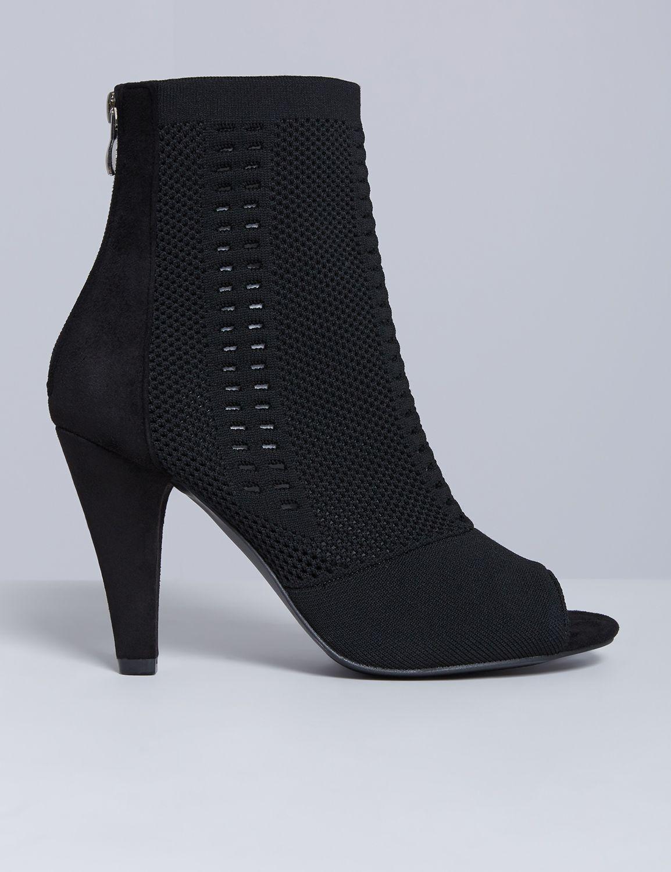 Lane Bryant Women's Peep-Toe Heeled Ankle Boot 7W Black