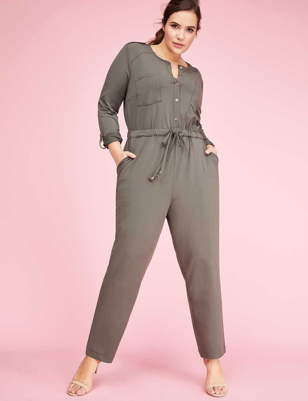 Lane Bryant Womens 3/4-Sleeve Utility Jumpsuit 12 Wren