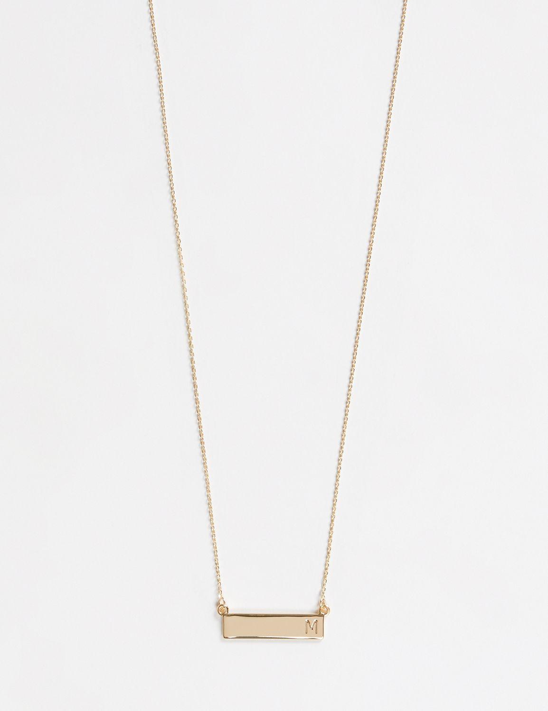 Lane Bryant Womens Initial Bar Pendant Necklace ONESZ Gold M