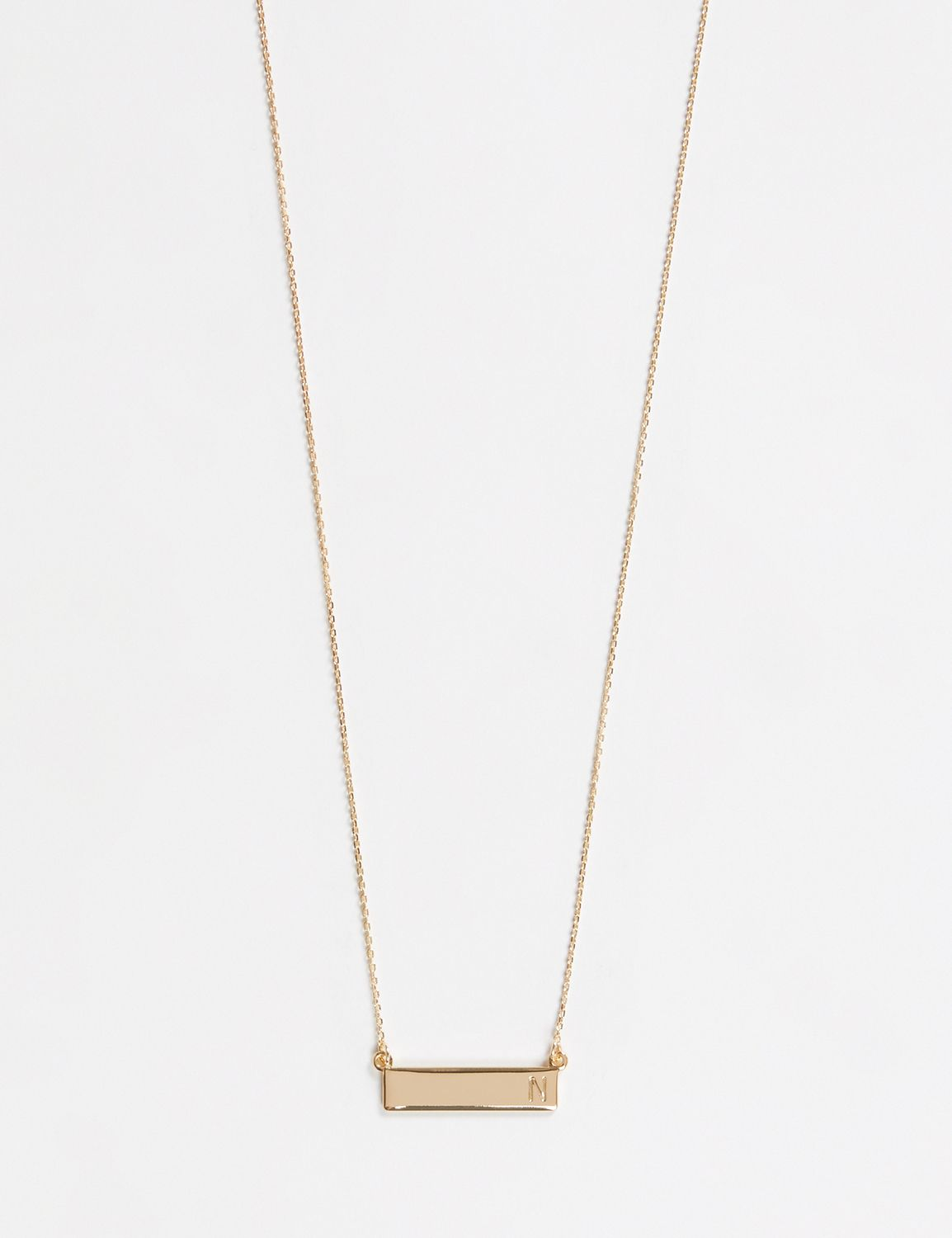 Lane Bryant Womens Initial Bar Pendant Necklace ONESZ Gold N