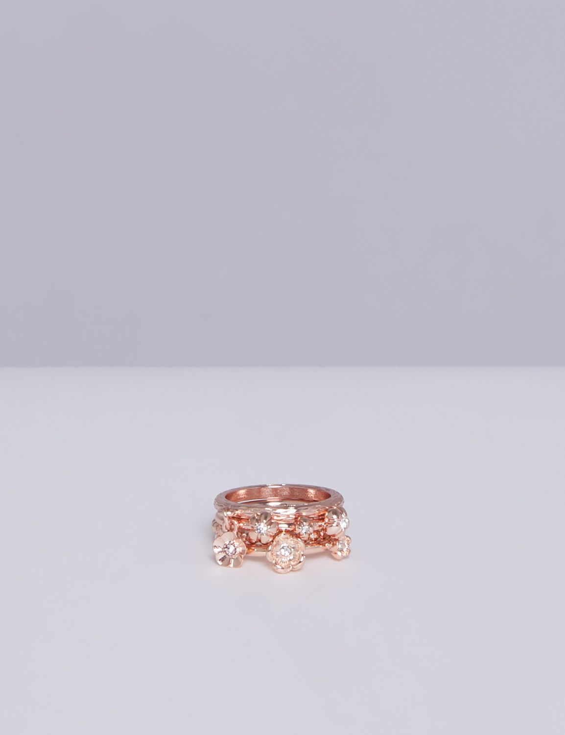 Lane Bryant Womens 4-Stack Flower Ring Set 10 Rose Gold